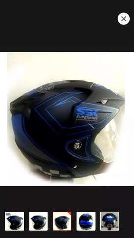 Helm moto gp biru dobel kaca