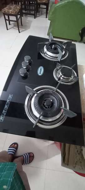 Black Tempered Glass Canon Stove ( Chulla ) brand new 3 burner