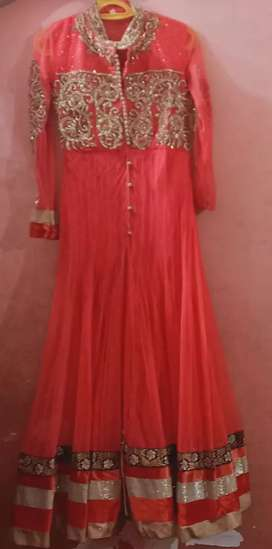 Party wear pink long frock