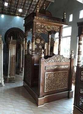 mimbar masjid ukir kubah mocong