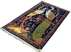 3 x 5 ft Dark Blue Color Silk Touch Peacock Hunting Area Rug for Sale