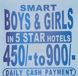 5 star hotels me waiters chahiye