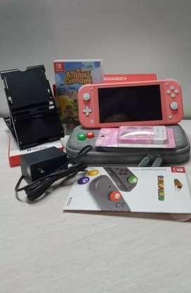 Nintendo Switch Lite Pink Coral Fullset + Aksesoris