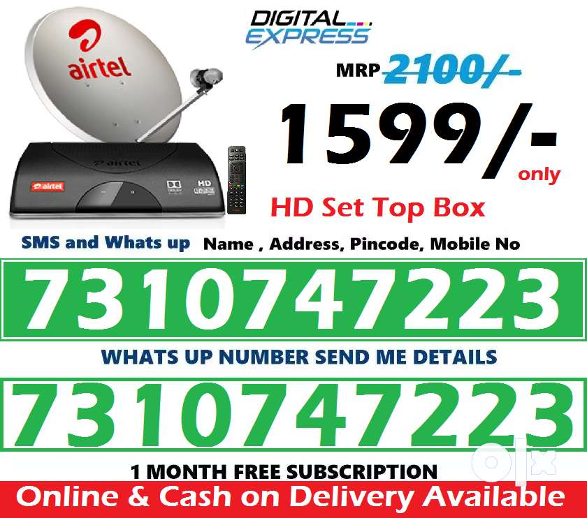 Airtel DTH Dish Tv New HD/SD Box at just 1580/- with 1 month free 0