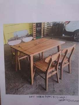 Kursi makan / kafe bahan kayu jati perhutani