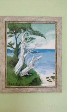 Two White Wither Tree canvass Painting With Frame