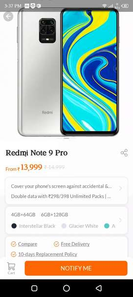 Redmi Note 9 Pro All Color 4GB 64GB Seal Pack