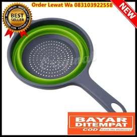 Baskom Saringan Lipat Drain Basket Foldable Collapsible Silicone Green