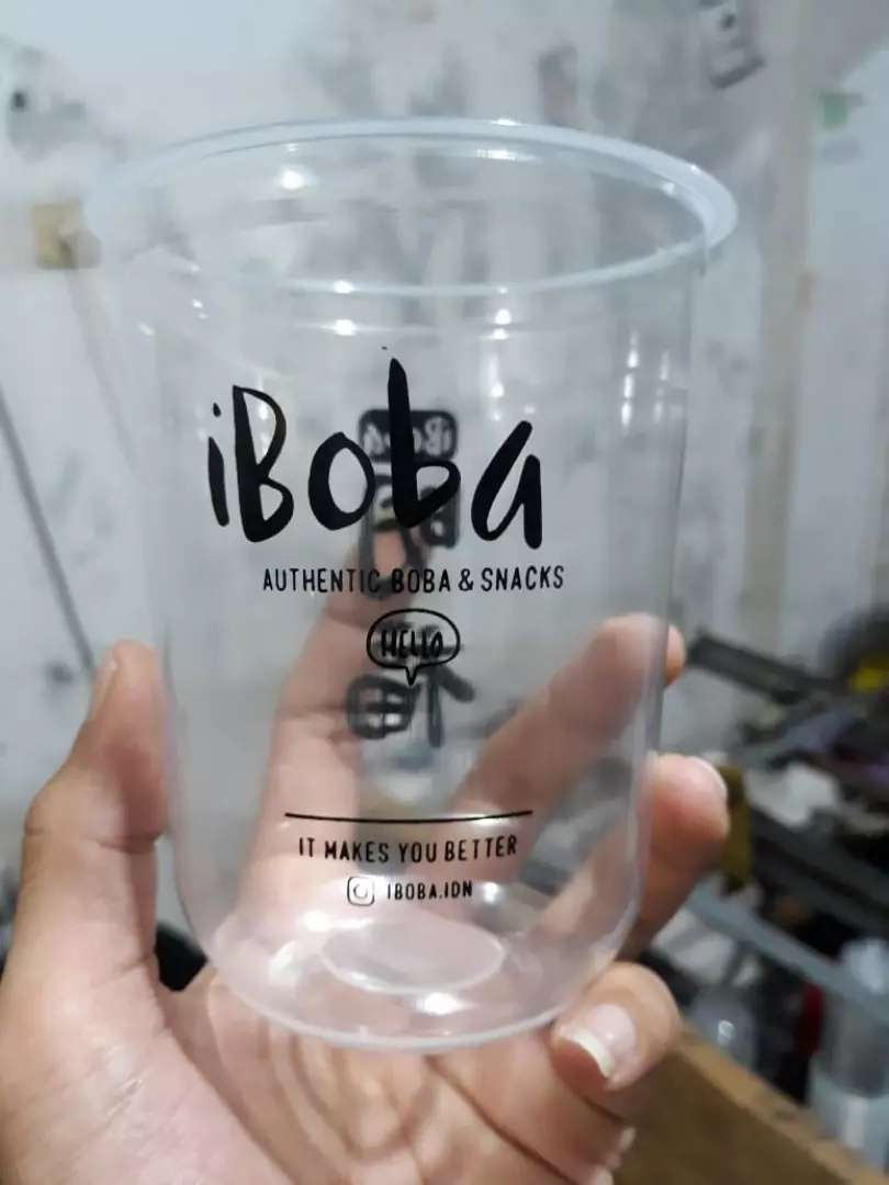 Printing gelas plastik unik kekinian CUP PP OVAL 22oz 10gram 0