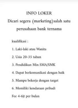 Di butuhkan marketing untuk bank ternama di indonesia