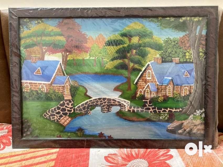 water colour painting with glass frame
