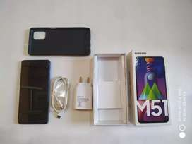 Samsung M51 4 Months Old 6gb ram 128gb storage Blue color