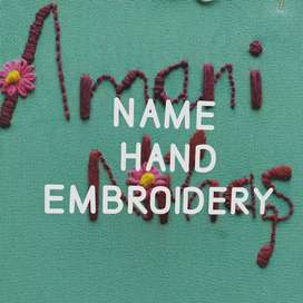 Name hand embroidery