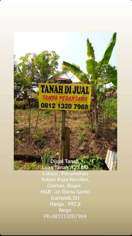 Di jual Cepat Tanah di Perumahan KRR, Ciomas,Bogor.jabar.