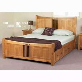 Tempat tidur minimalis, laci 2,bahan kayu jati terbaik