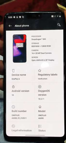 One plus 6 8gb 128gb New condition Mobile only