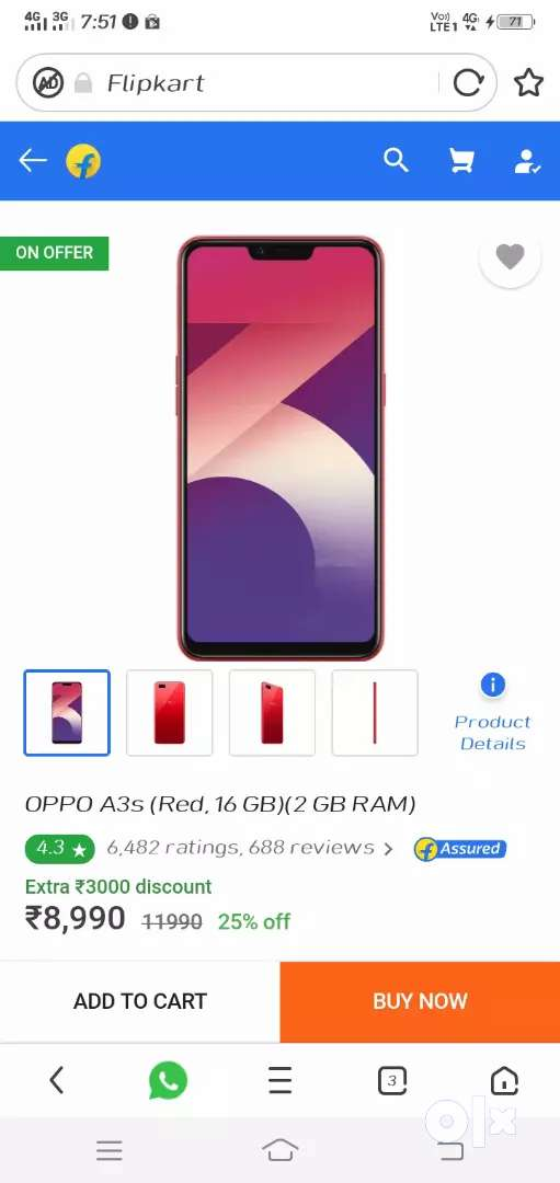 Oppo a3s 2gb 16 gb 6.2 inch display 0