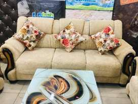 Brand new 7 seater sofa set of sagvan wood in cream colour