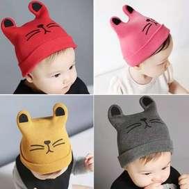 Topi Kupluk Anak Bayi Dengan Kuping Motif Hewan Rajut