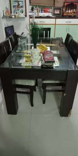 Dark Brown Table Set with Glass Top and 5 Chairs