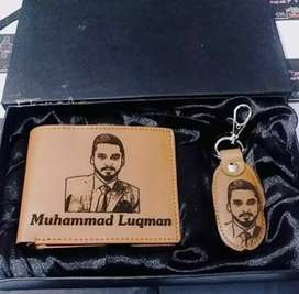 Photo engraved on wallet and keychain, personalized your own photo.