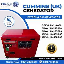 Cummins (UK) 6KVA to 15KVA Soundproof Petrol & Gas Generators.