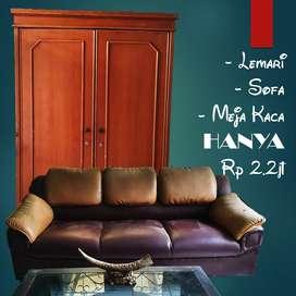 Paket Lemari, Sofa, Meja Kaca Bekas