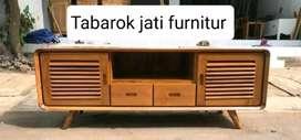Meja tv retro moderen pintu 2 mewah,P.150cm, bahan kayu jati asli 100%