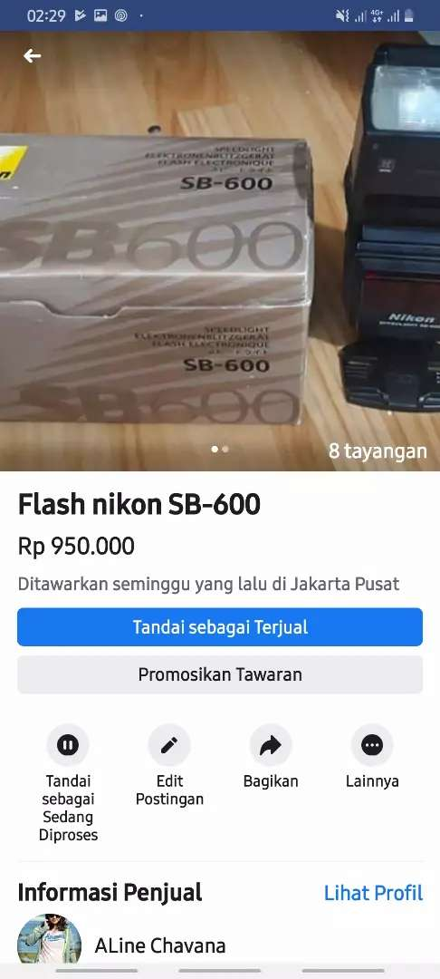 flash SB-600 barang masih mulus 0