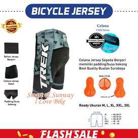T008 Jersey Sepeda - Celana Pendek Padding Stretch #Gowes Trek HTM Abu