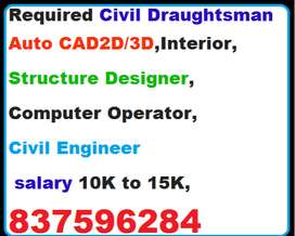 Required Civil Draughtsman Auto CAD2D/3D,Interior,Structure Designer,C