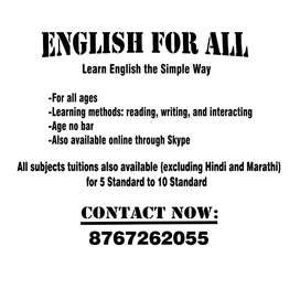 English courses and all subjects tuitions for 5th-10th standard
