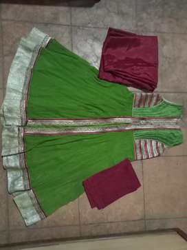 Dress of mehandi colour with duppata and lowerwear