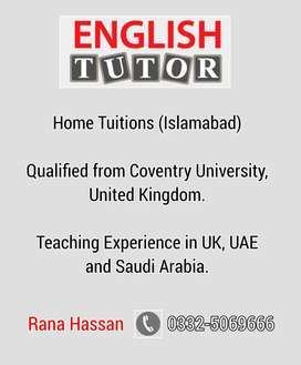 English Language Home Tuition Available in Islamabad.