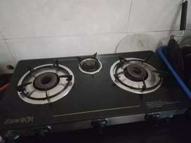 Gas Stove with glass on top