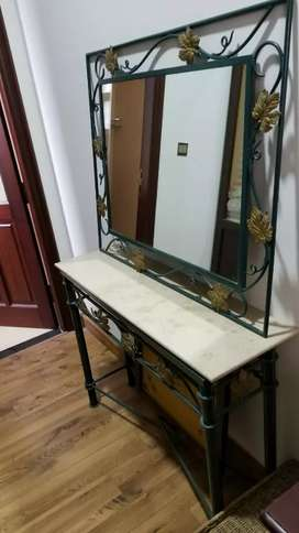 Wrought iron console with mirror