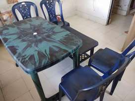 Foldable plastic dining table two (large and small) with four chairs