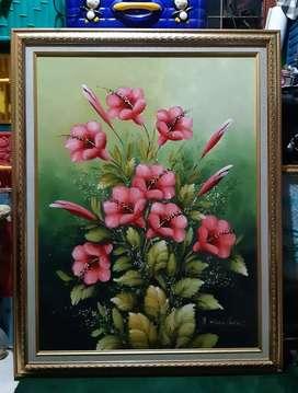 Lukisan Bunga ,cat minyak diatas papan,ukuran 70cm x 100cm.