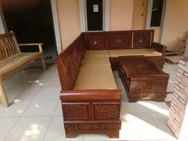 Kursi tamu / sudut / sofa bahan kayu jati perhutani ukiran jepara