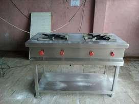 Brand New Steel Kitchen Bhatti Counter.2 Burner