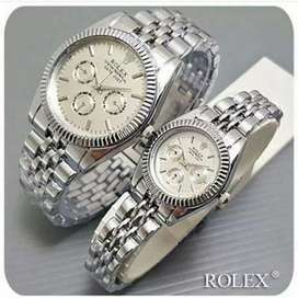 Free ong JAM COUPLE ROLEX SILVER PLAT PUTIH
