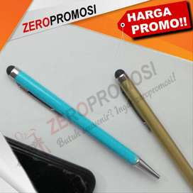 Souvenir Pulpen Besi Warna Cetak Logo Dengan Stylus Touch HP
