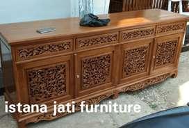 Meja tv bufet Palembang motif ukiran Free ongkir