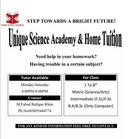 Unique Science Academy & Home Tuition