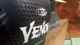 Helm KYT K2rider Venom edition mulus hitam doff