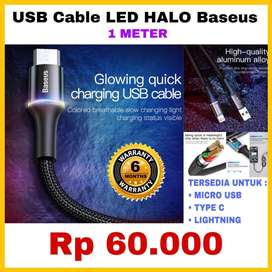 BASEUS Kabel Charger USB HALO LED Original Garansi 6 Bulan