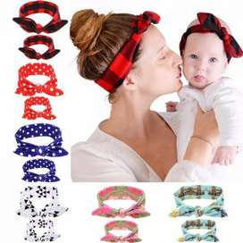 2PC/Set Mom Love Kids Rabbit Ears Hair Band Ornaments Tie Bow Women He