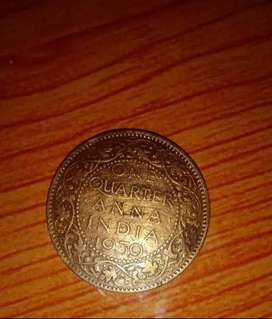 One anna unique coin sins 1939