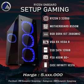 PC Gaming Rakitan Ryzen 3 3200G RAM 8GB KIT DDR4 SSD 120GB Ready