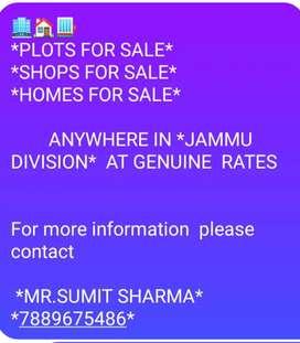 Plots  shops lands houses for sale inojammu.